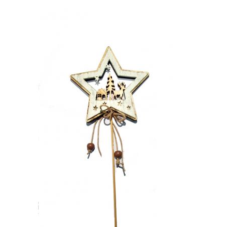Vánoční zápich dřevěná hvězda - BÍLÁ