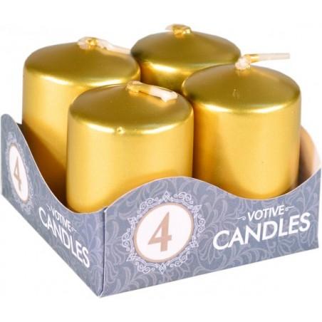 Adventní svíčky válcové 4 ks metalické 40x60mm zlaté