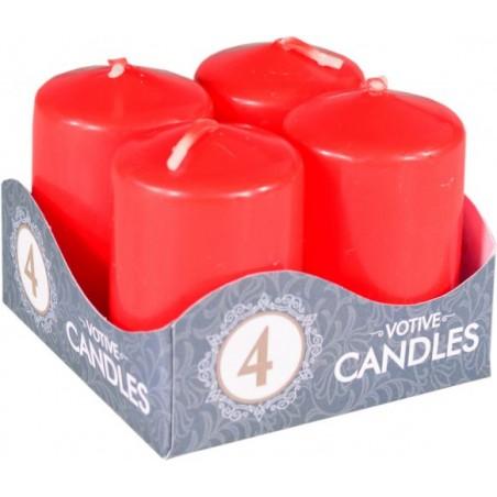 Adventní svíčky válcové 4 ks 40x60mm červené