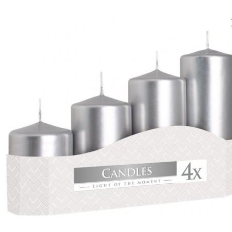 Adventní svíčky válcové schody 4 ks 50x70,90,110,130mm metalické  stříbrné